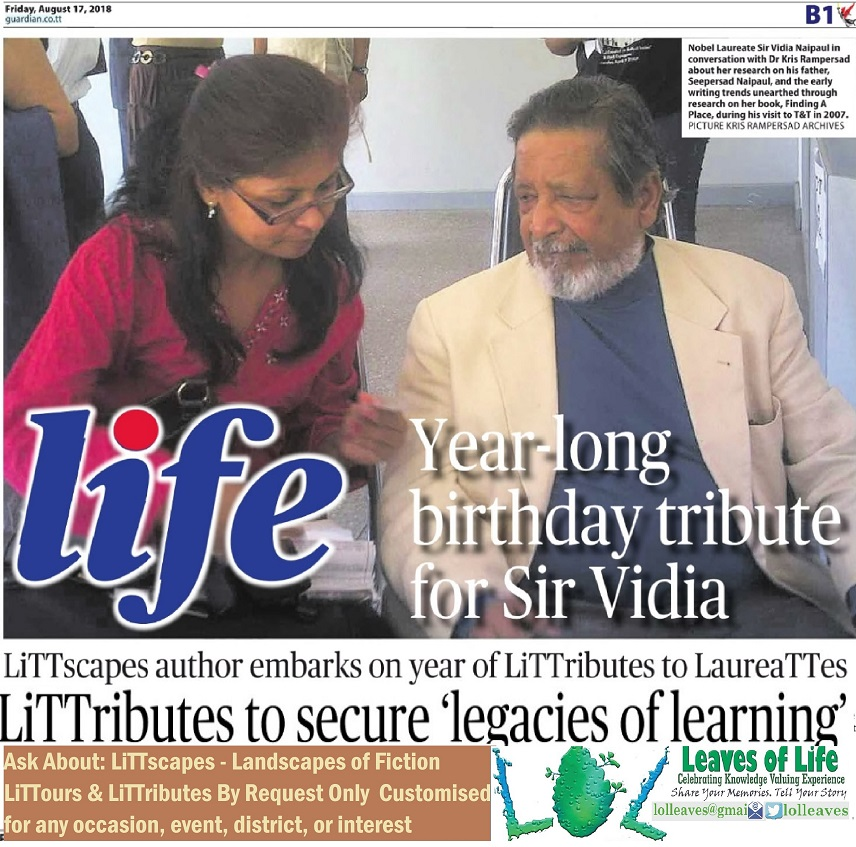 Dr Kris Rampersad tete a tete with Nobel Laureate Sir Vidia Naipaul see LiTTscapes' literary odyssey goes to London